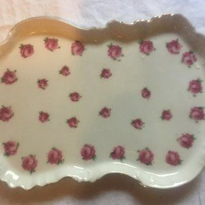 Other - Small China Tray With Roses and Gold Trim